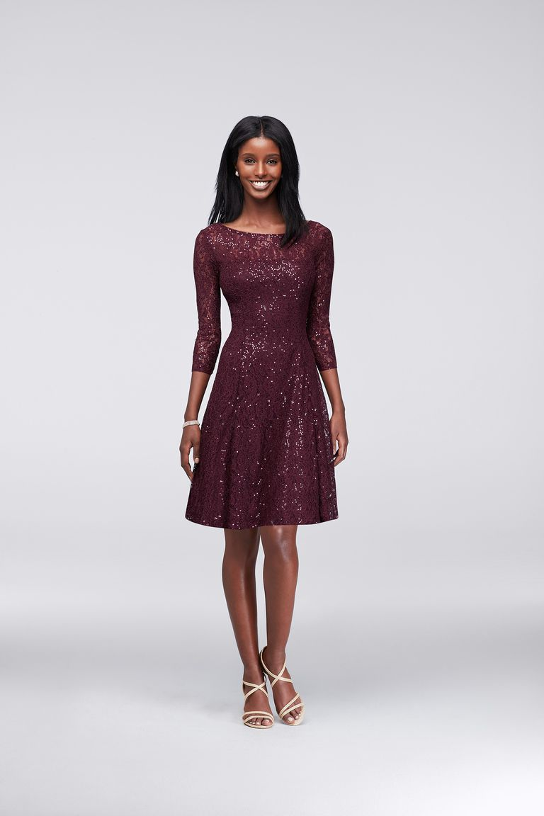 David S Bridal Sequined Lace Fit And Flare Dress