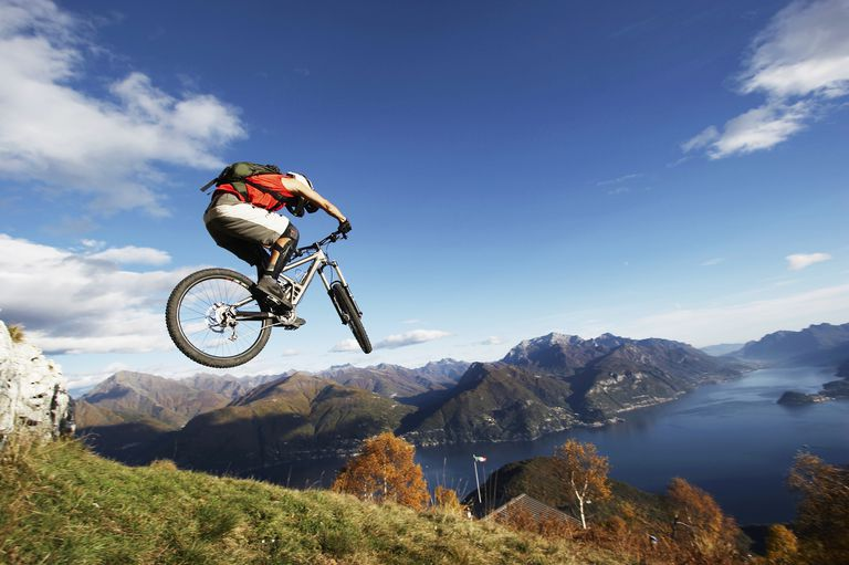 Man mountain biking