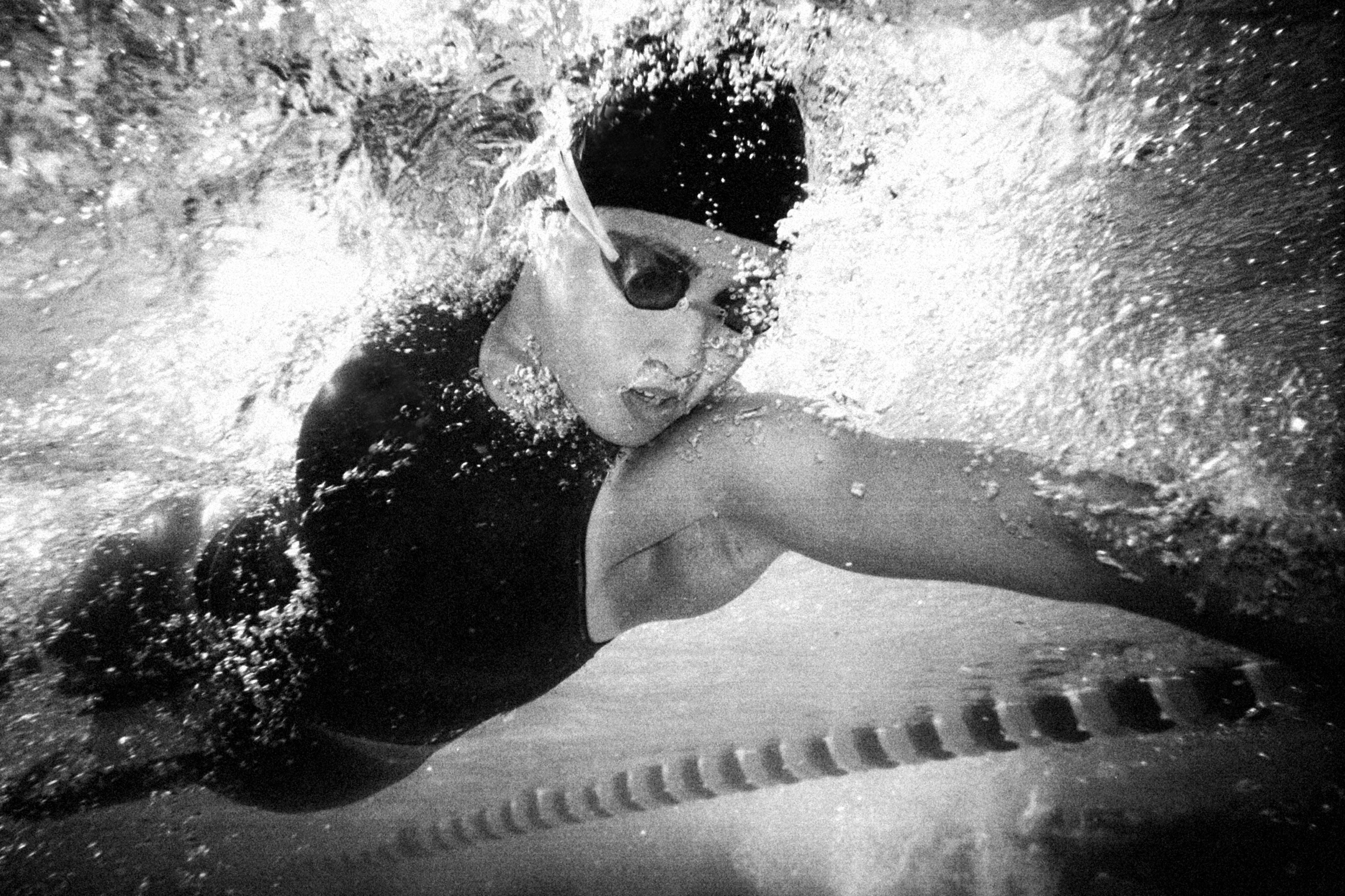 Young woman swimming