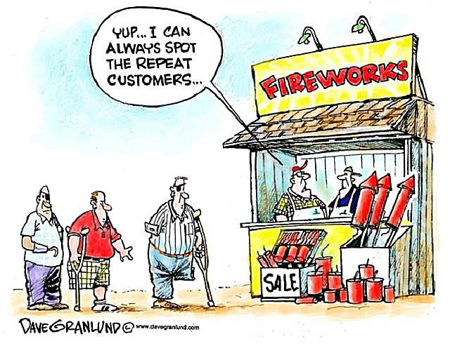 A cartoon about people injuring themselves with fireworks