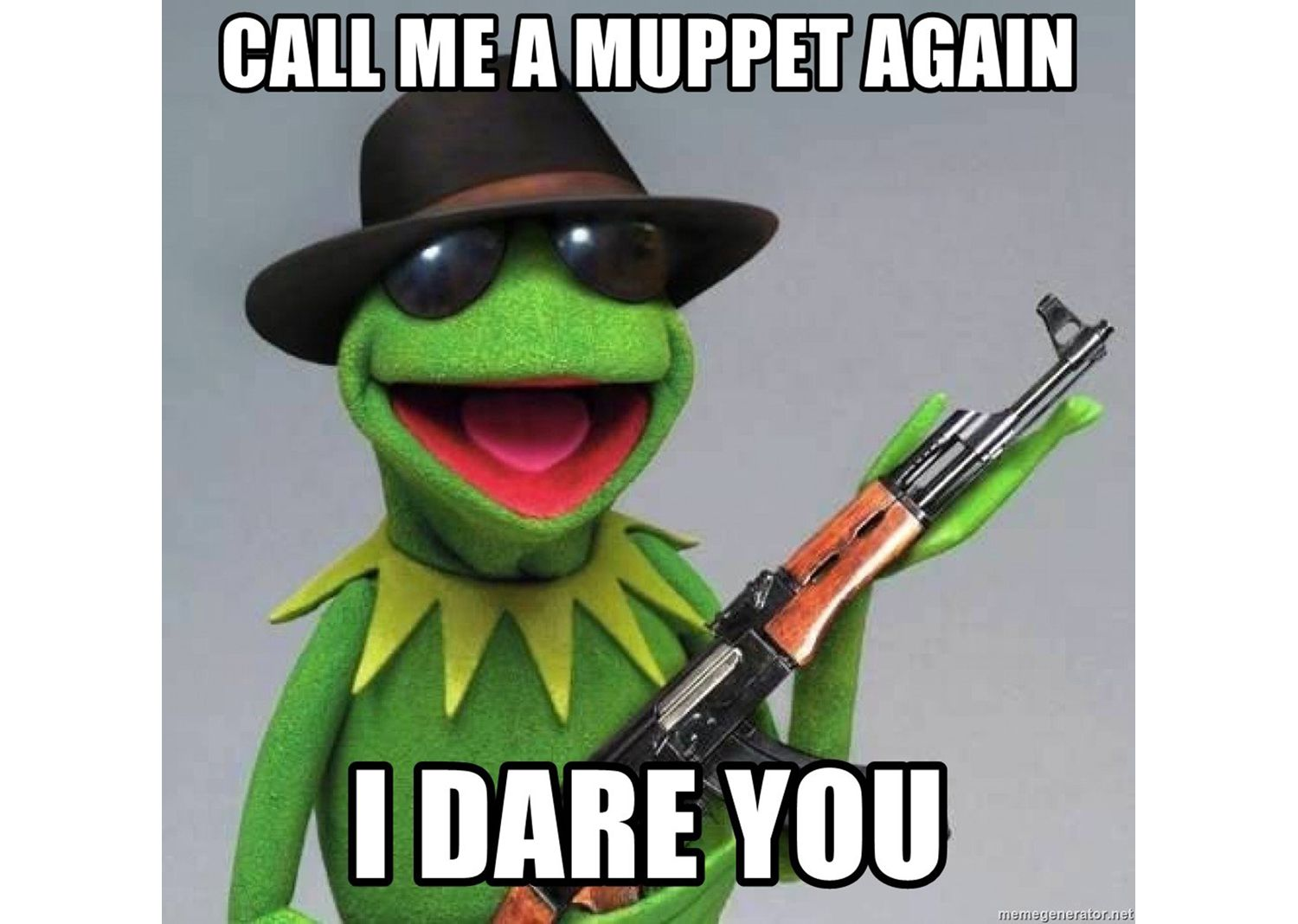 Kermit saying: Call me a Muppet again, I dare you