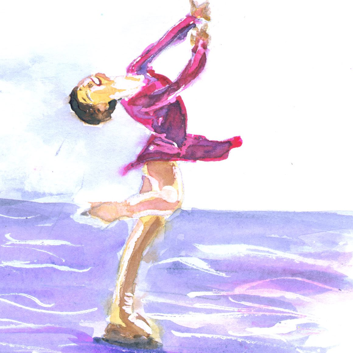 Painting of a layback Spin