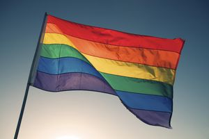 Rainbow Flag Waves Backlit by Bright Sun