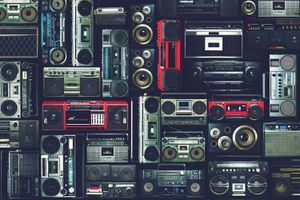 Vintage Wall of Radio Boombox of the 80s