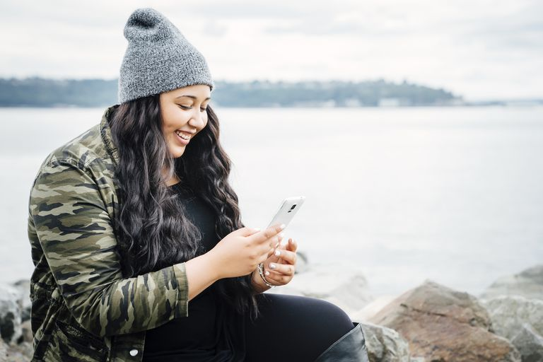 Woman texting.