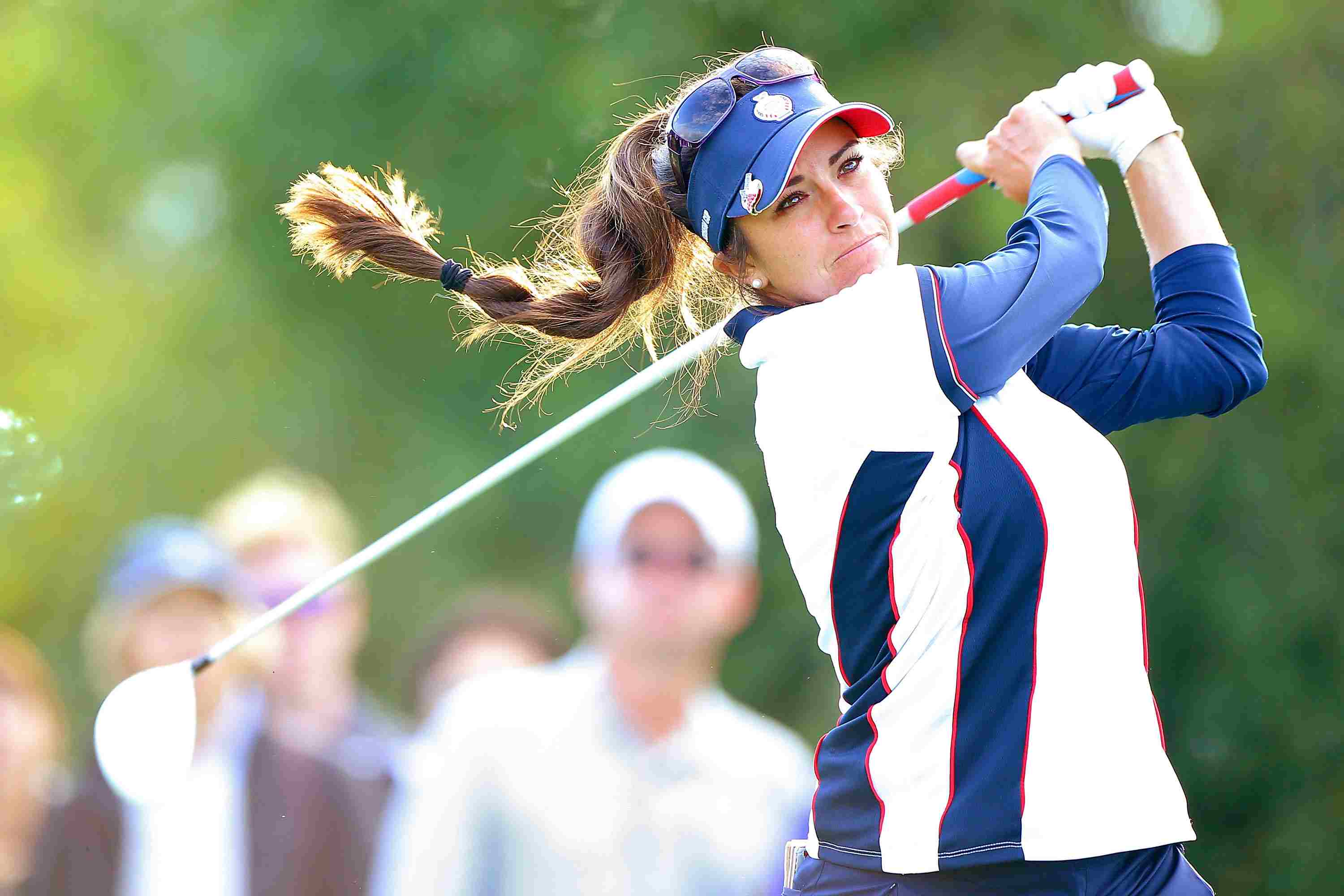 Gerina Piller of the United States Team shots the ball during the afternoon fourball matches in the 2015 Solheim Cup match