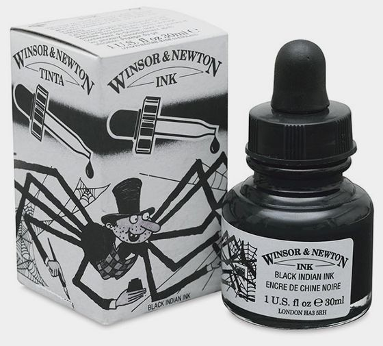 Winsor and Newton Black Indian Ink.