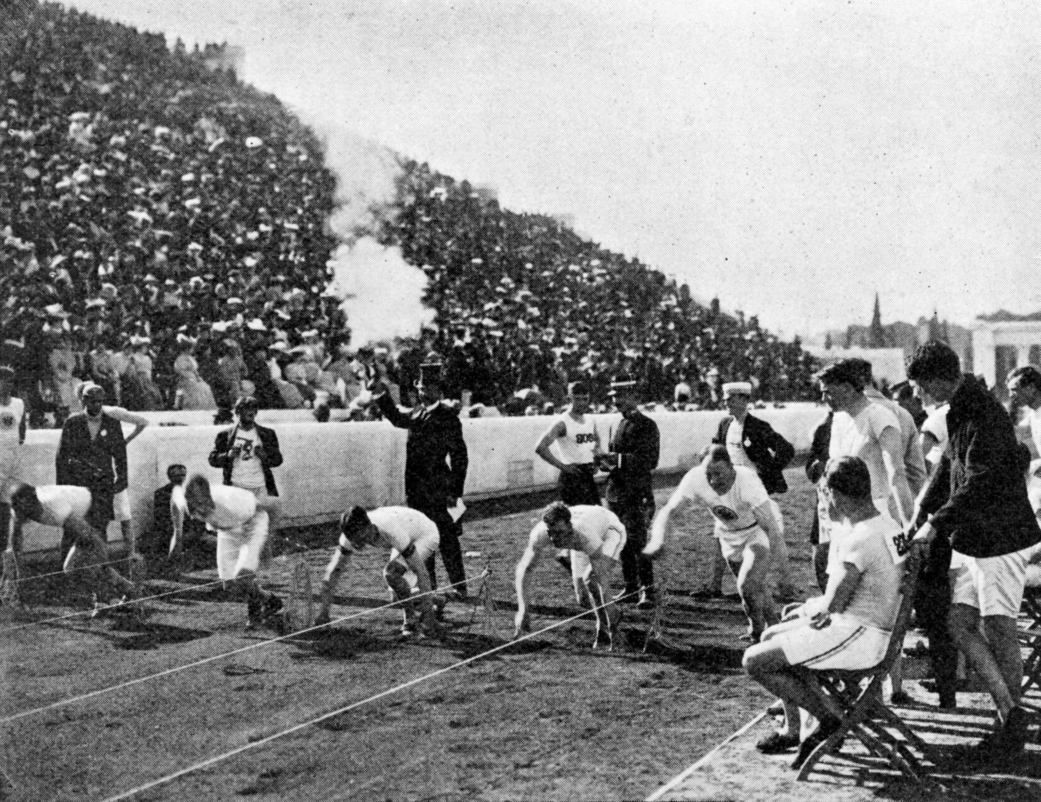 8e86294c475 Archie Hahn (second from right) on his way to victory in the 1906 Olympic  100-meter final. Hulton Archive Getty Images