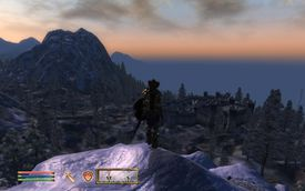 Character on a mountain in The Elder Scrolls IV