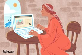 Illustration of a person in medieval dress playing the Sims Medieval on a laptop