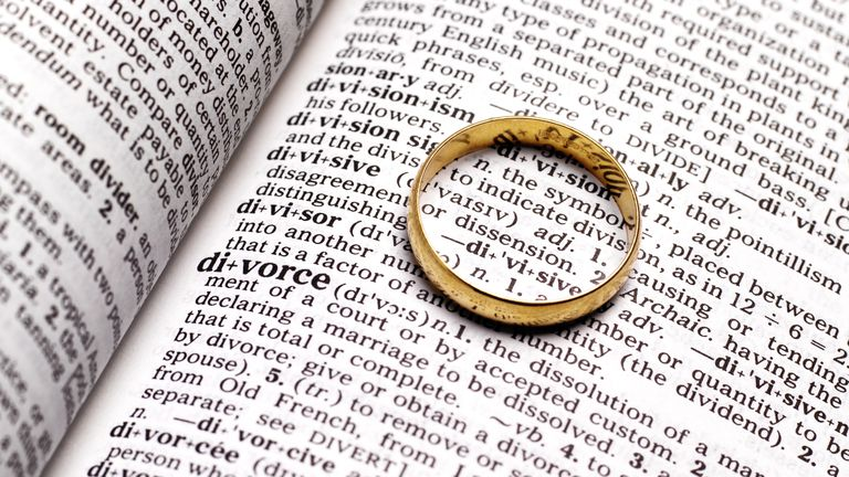ring on dictionary, divorce