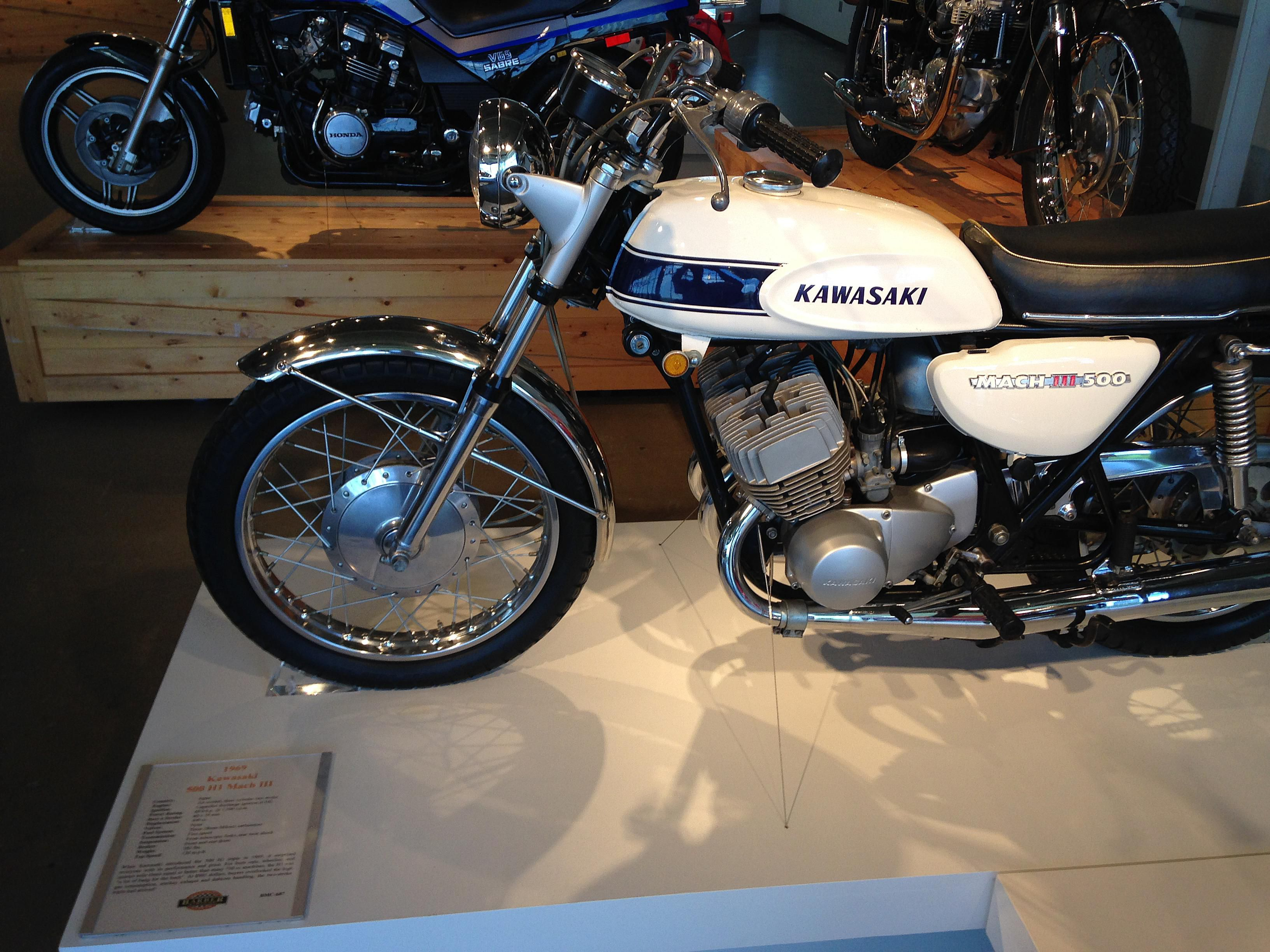 Kawasaki Mach 111 500 on display in museum.