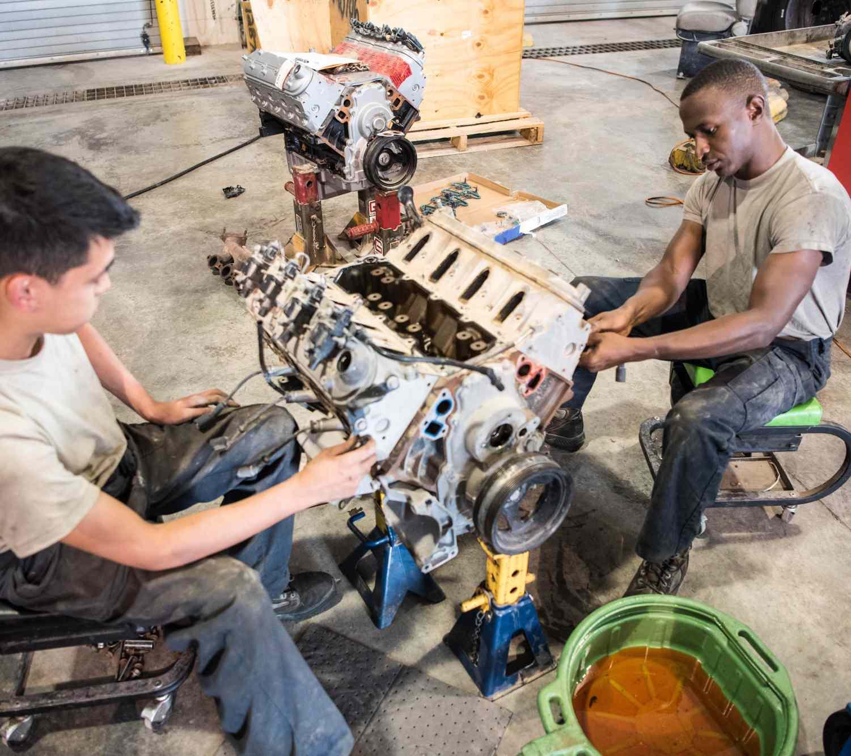 mechanics rebuilding engine