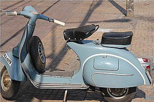 The restoration project started with this well used 1963 VBC Vespa.