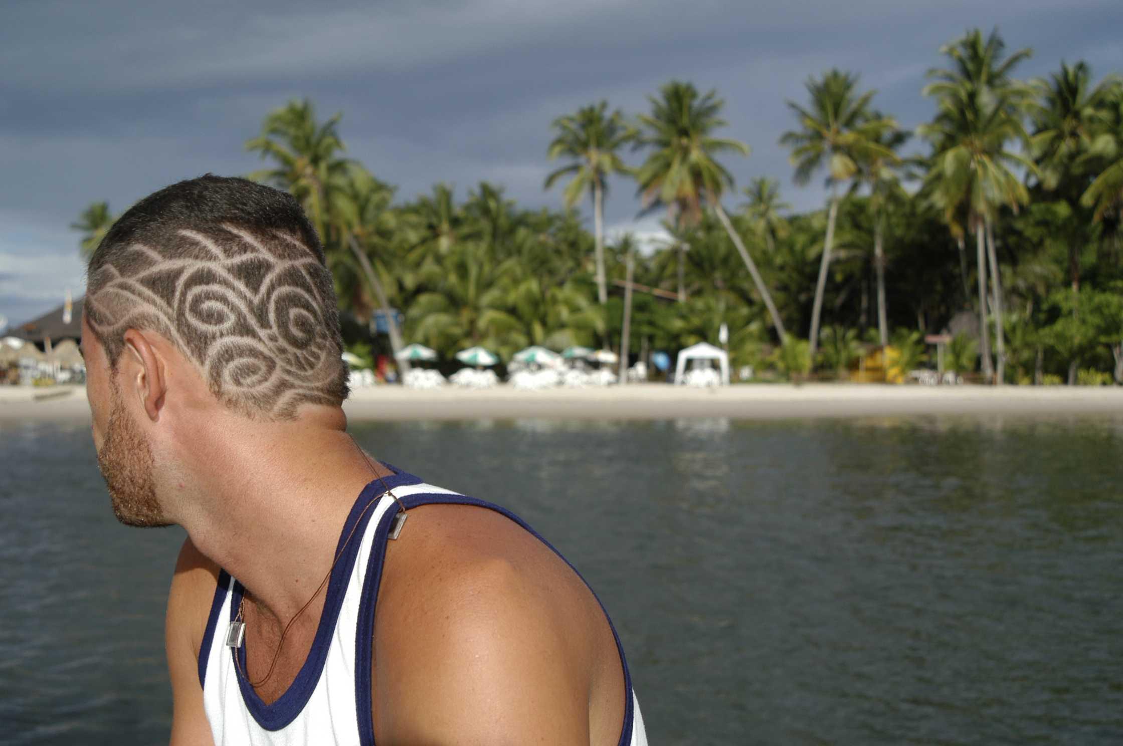 Bahia Brazilian Man with Hair Designs Tropical Beach