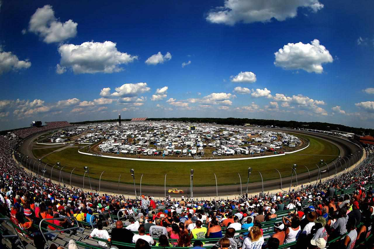 BROOKLYN, MI - AUGUST 18: A general view of cars racing during the NASCAR Sprint Cup Series 44th Annual Pure Michigan 400 at Michigan International Speedway on August 18, 2013 in Brooklyn, Michigan.