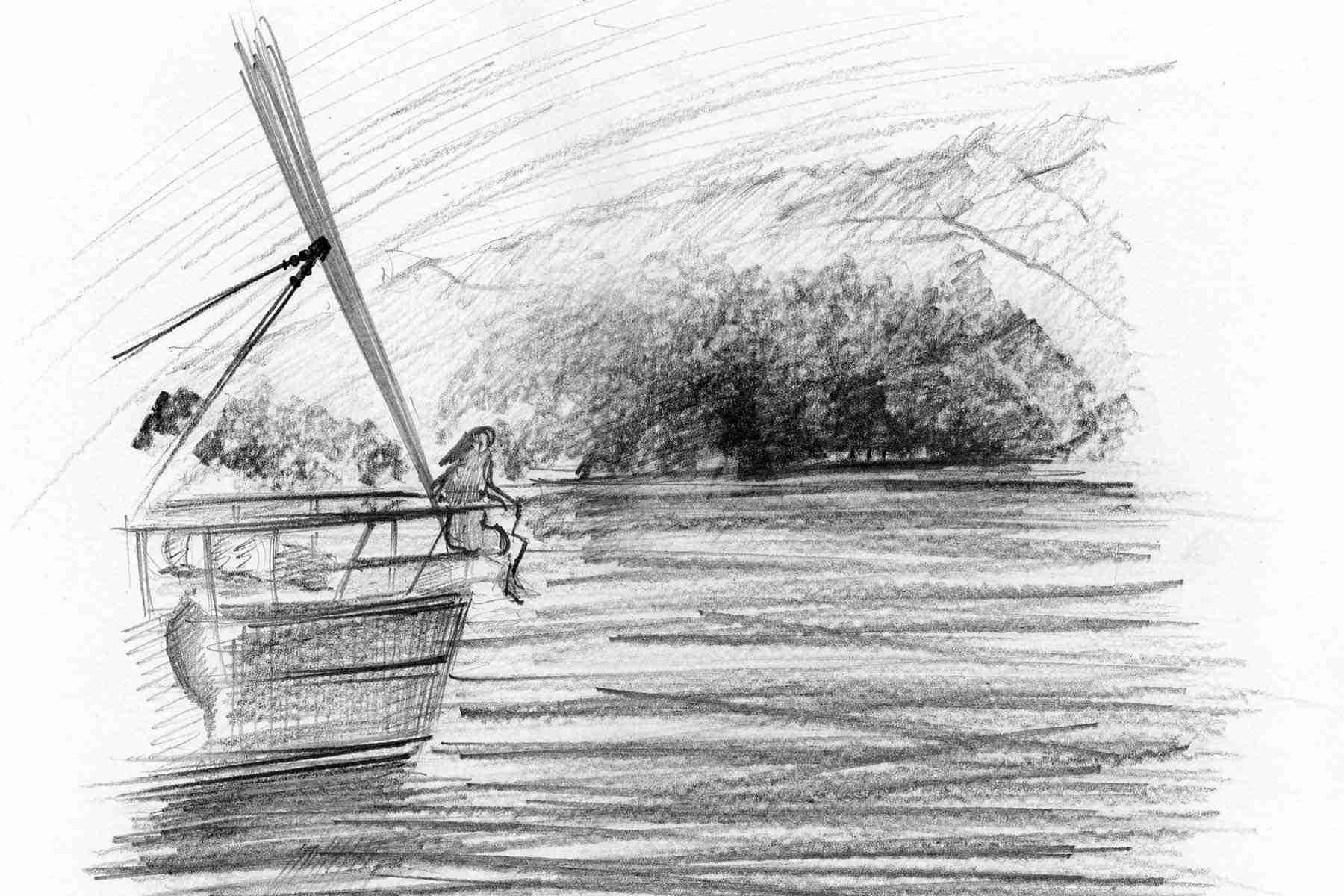 A lake scene.