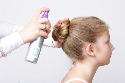 Ballet bun spray hair