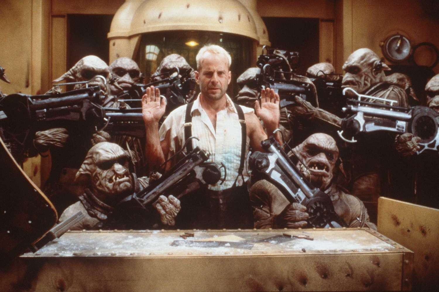 Actor Bruce Willis in a scene from the 1997 film 'The Fifth Element'