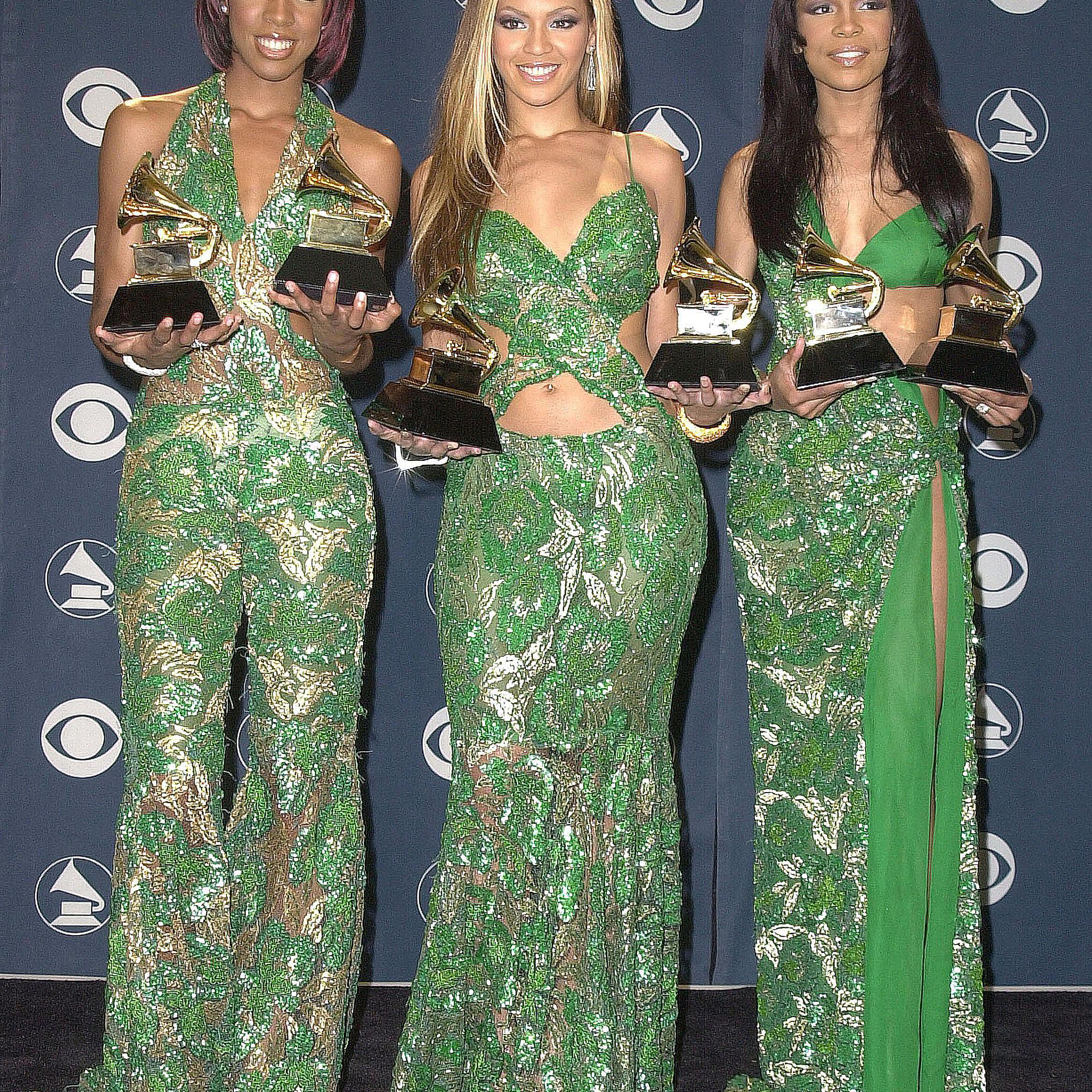 Destiny's Child posing with their Grammys at the 43rd annual Grammy Awards on February 21, 2001 at Staples Center in Los Angeles.