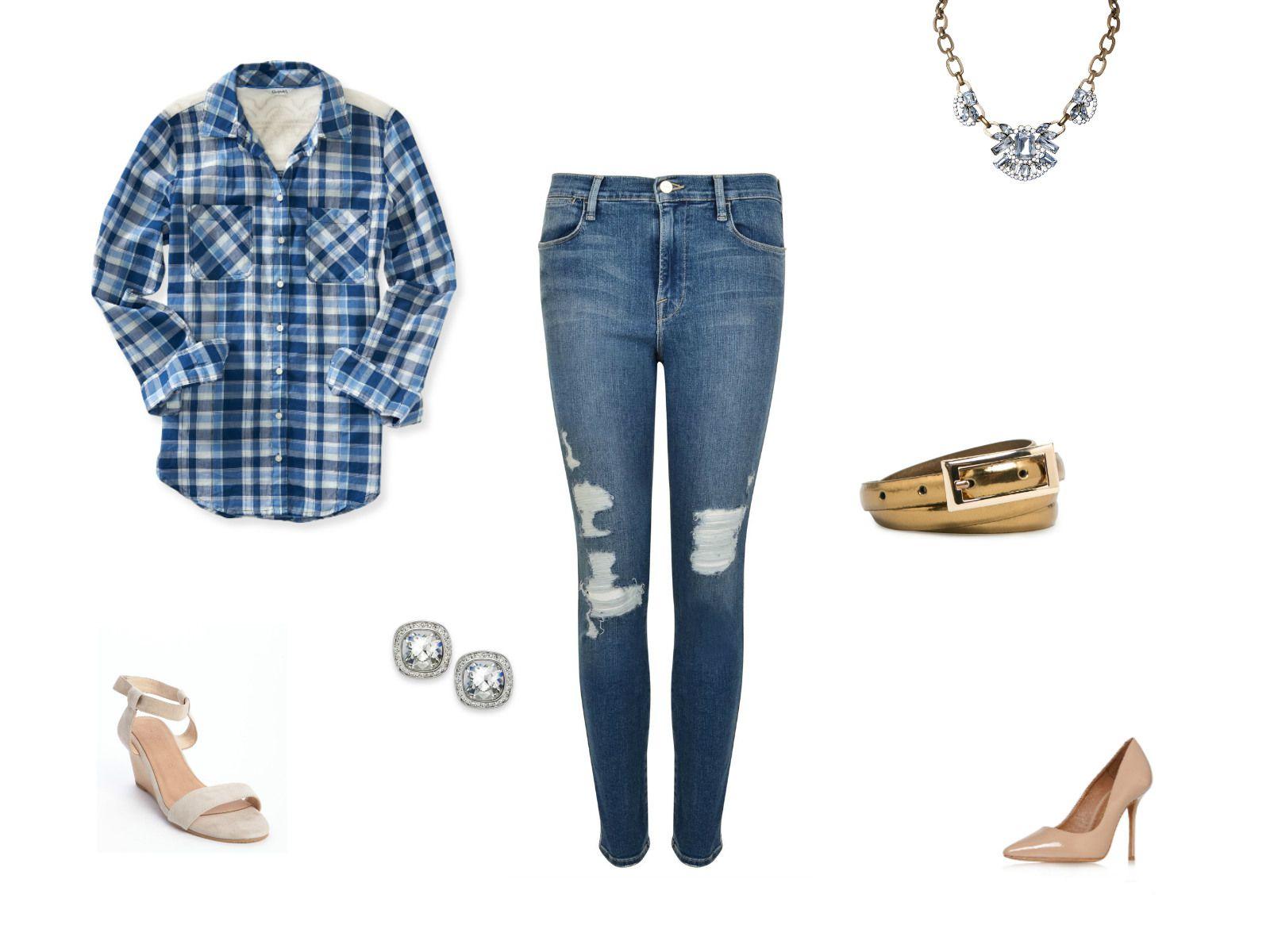 Skinny jeans and blue plaid shirt