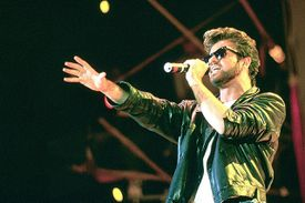 George Michael and Wham performing live at the Live Aid Concert, Wembley Stadium, London on 13th July 1985.
