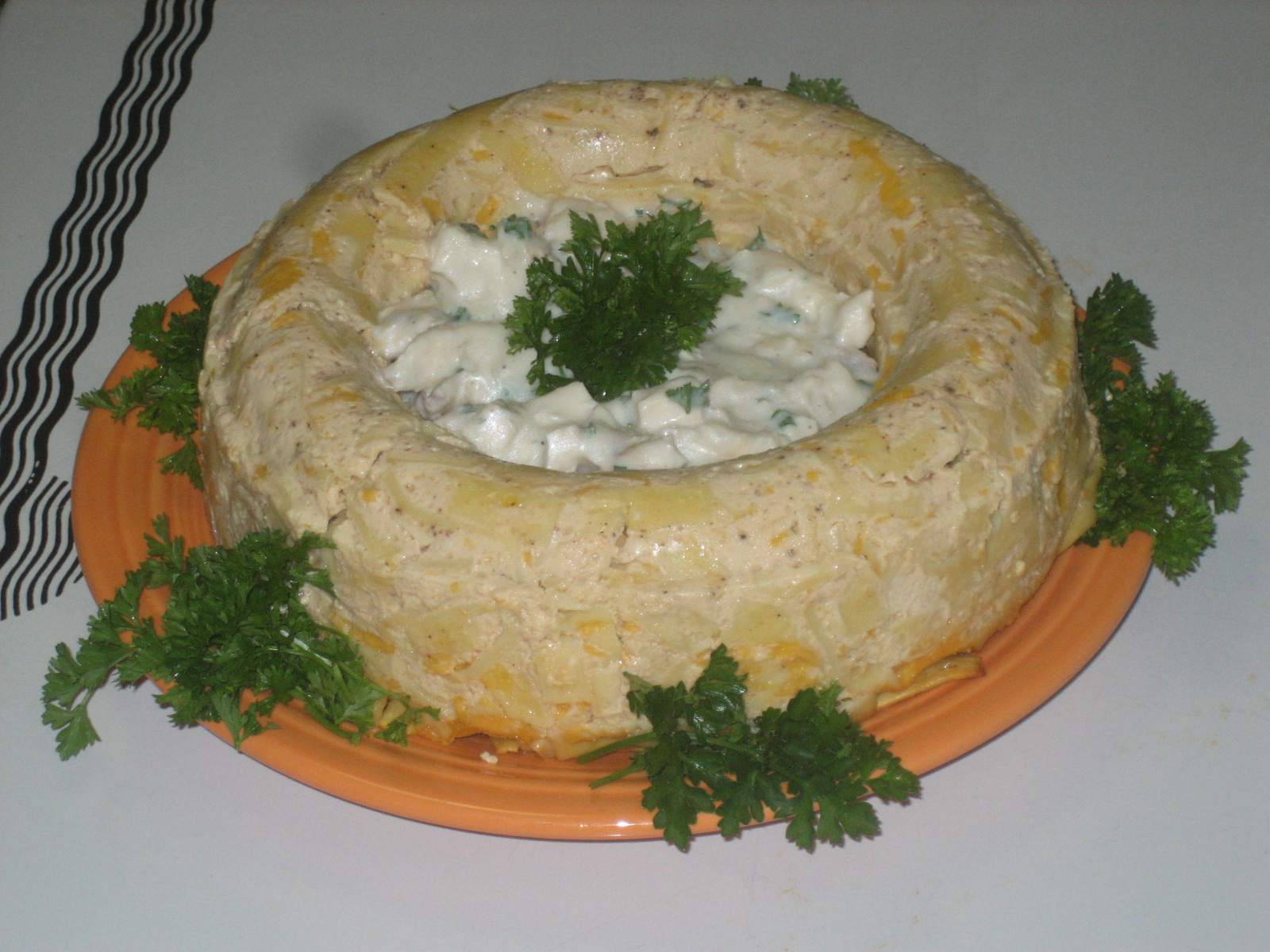 Noodle Ring Filled With Creamed Chicken