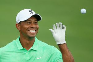 Tiger Woods is all smiles prior to the start of a Masters Tournament