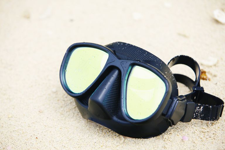 Diving mask on beach