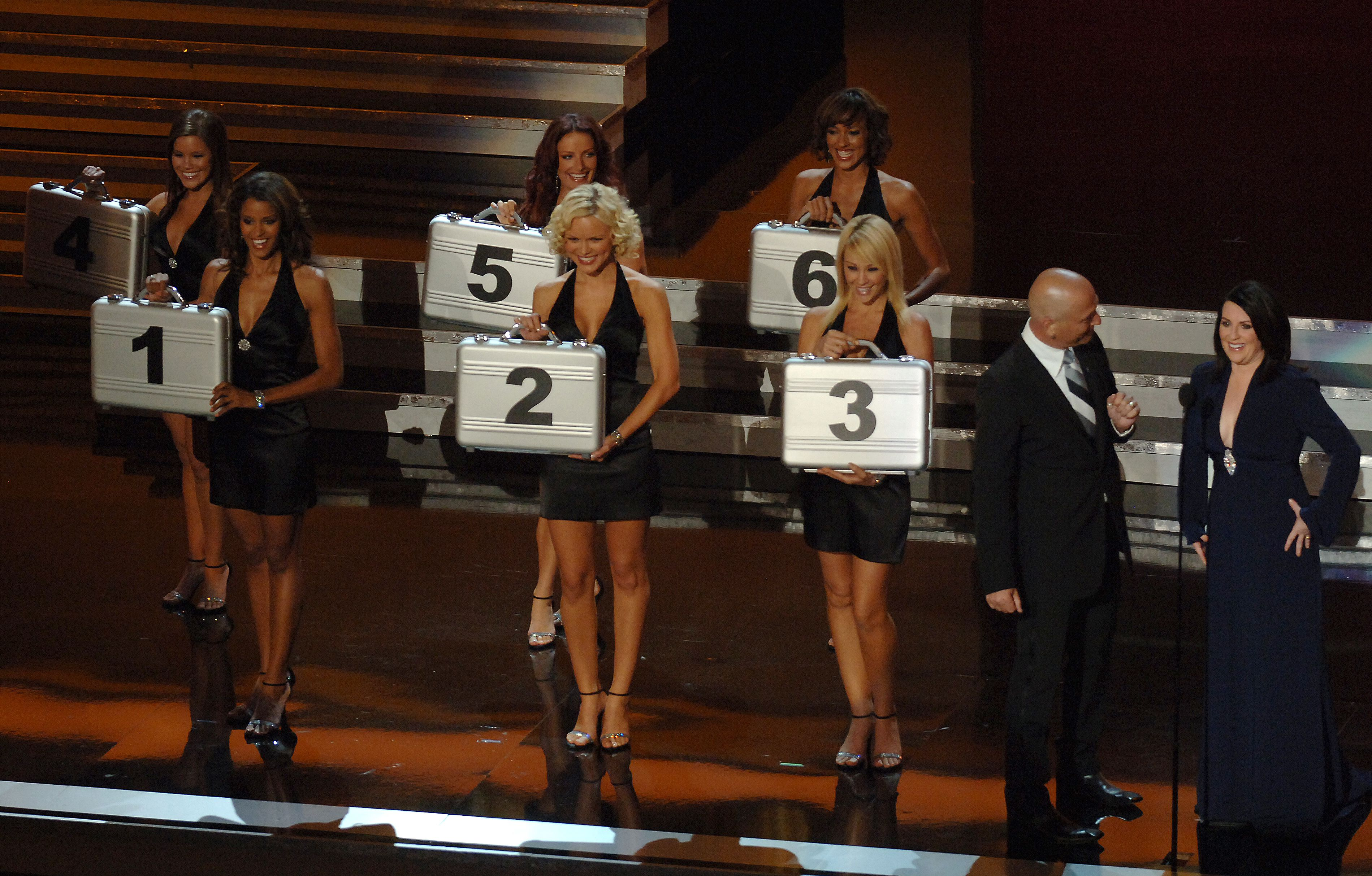 Howie Mandel, Megan Mullally and The women from 'Deal or No Deal' at the Shrine Auditorium in Los Angeles, California