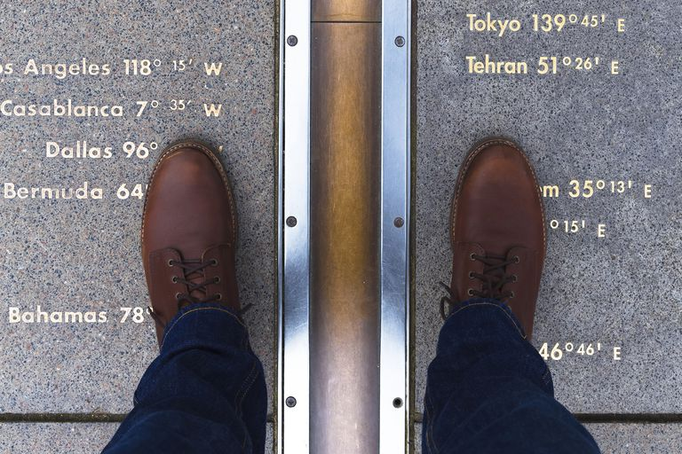 more photos 9e4ac 66c48 Man in casual shoes, feet straddling the Prime Meridian line.