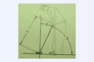 'A' is lie angle; 'B' is declination angle; 'L' is shaft length.