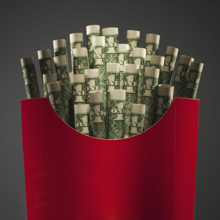 Image of money in a fry box.