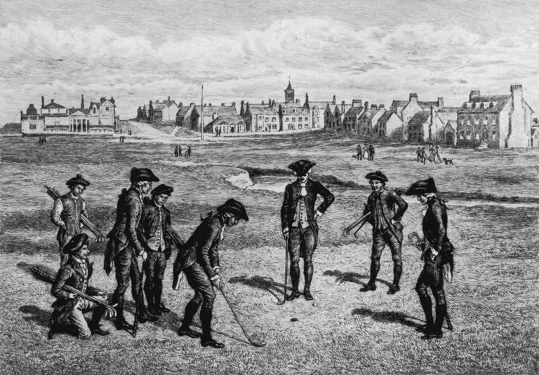 18th century woodcut showing golfers at St. Andrews
