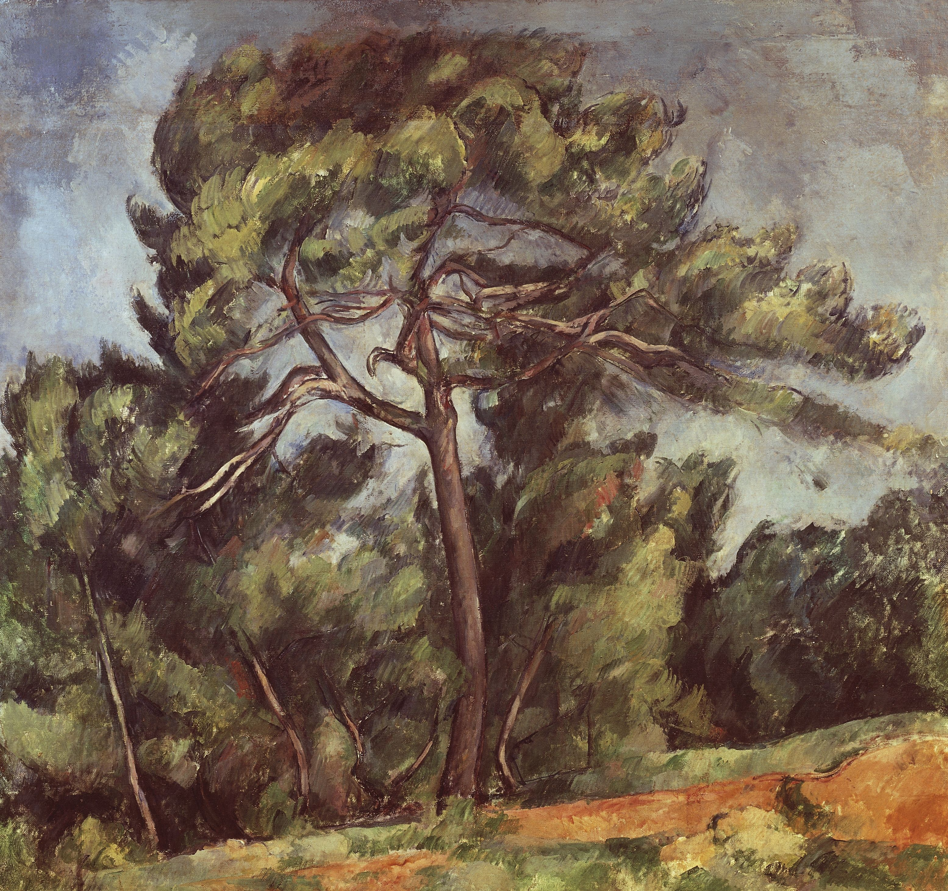 Painting of pine tree by Paul Cezanne showing massing of needles and leaves