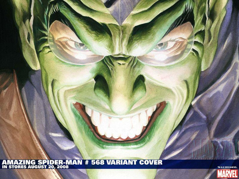 The Green goblin smiling.