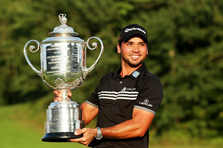 Jason Day holds the Wanamaker Trophy after winning the 2015 PGA Championship