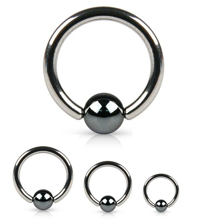 Captive Bead Ring Surgical Steel with Hematite Plated Ball Nose Earrings Tragus