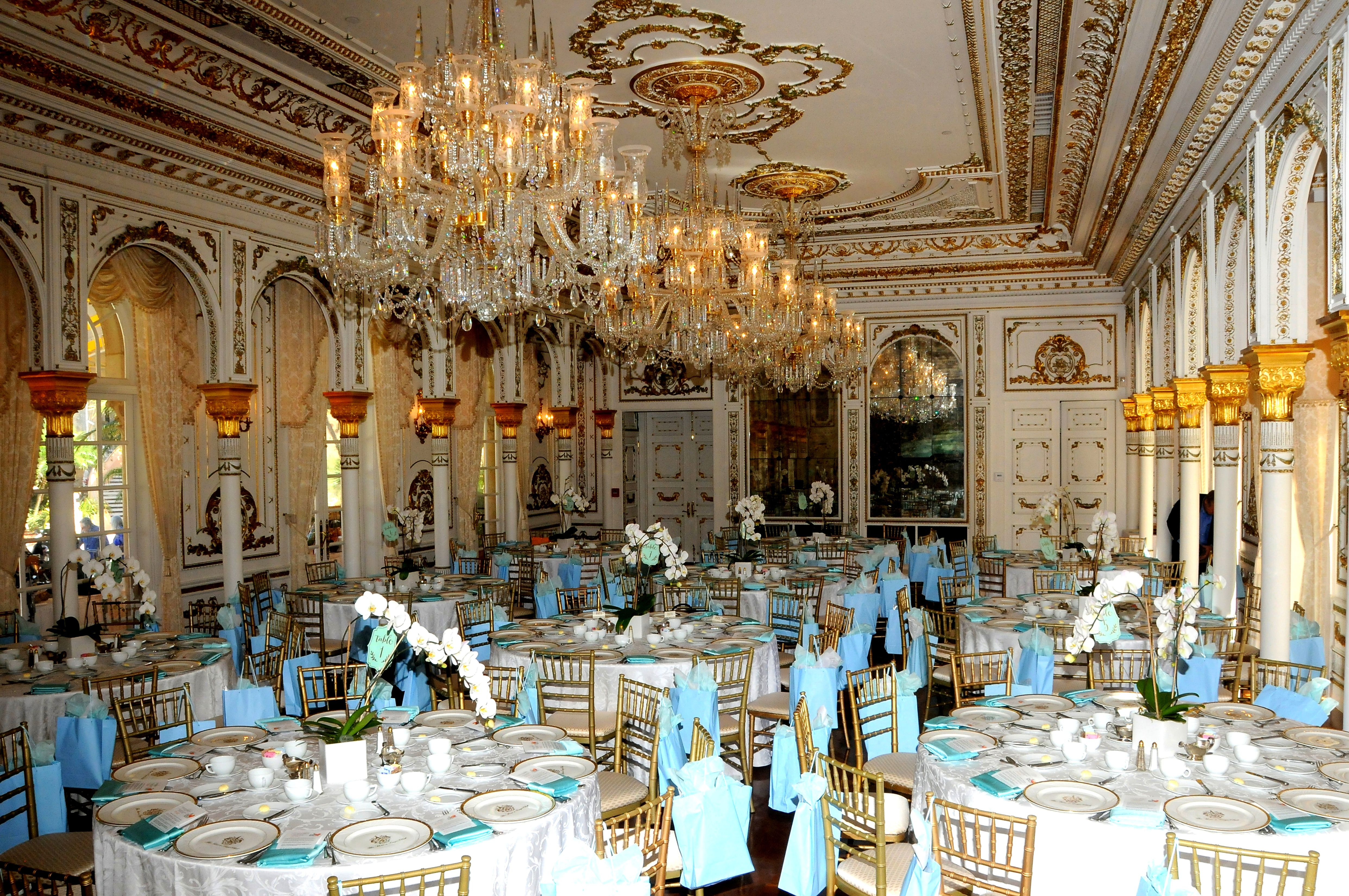 A ballroom at Mar-a-Lago filled with tables for a reception
