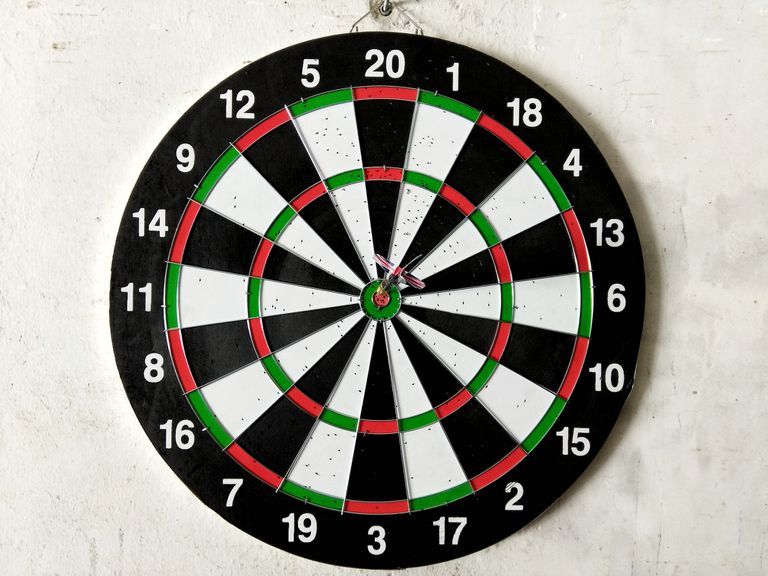 Dartboard hanging on a wall
