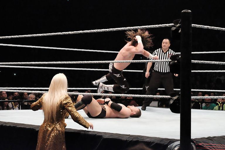 Wrestlers The Miz vs. Dolph Ziggler (long hair) are performing during 'WLIVE REVENGE'