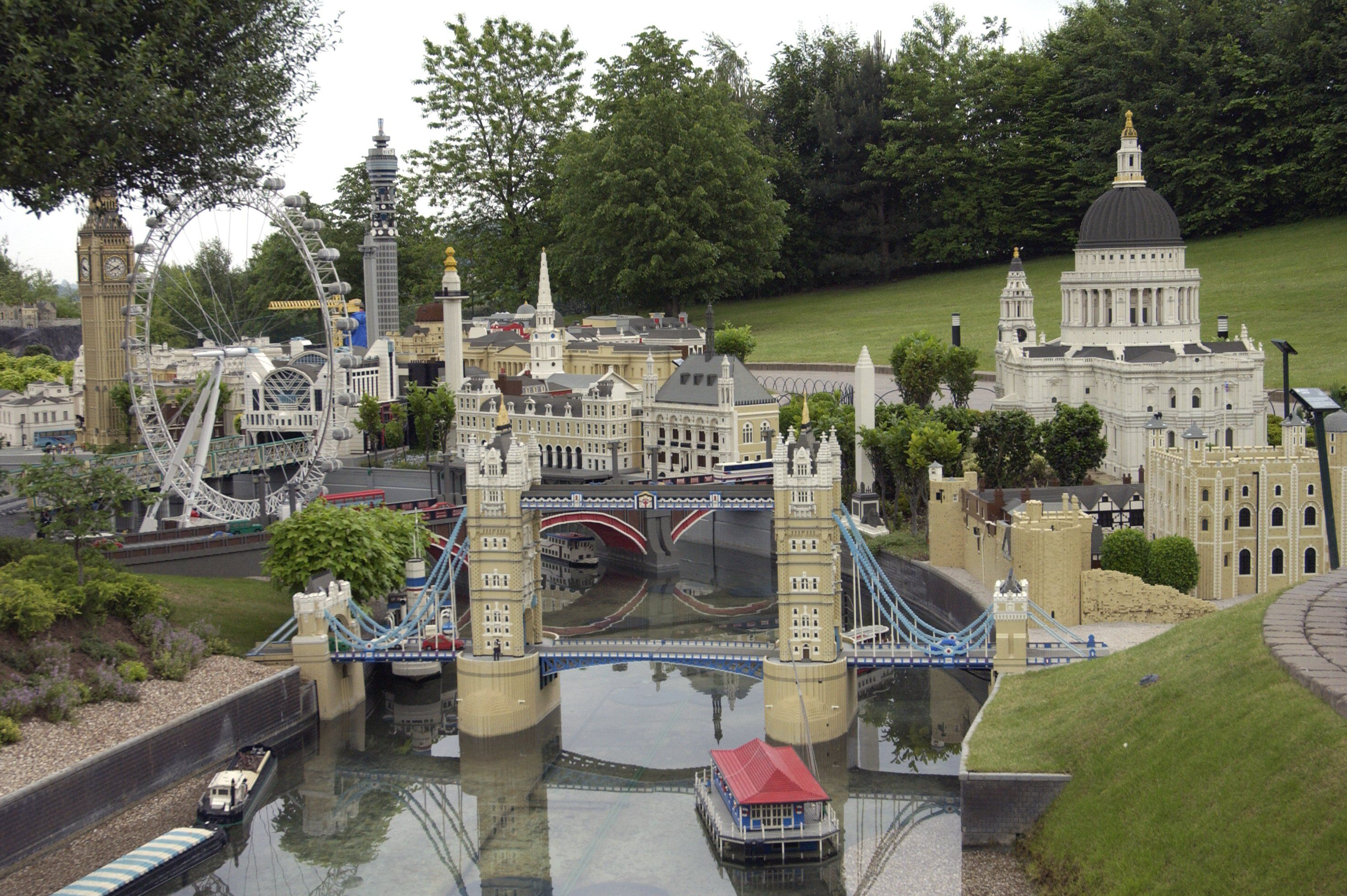 Legoland tourist attraction model replicas of London Eye, St Paul's Cathedral and Tower Bridge