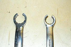 The line wrench is a useful tool.