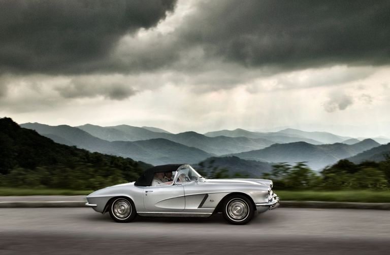 Chevrolet Corvette Sting ray 1960's driving along the Cherohala Parkway North Carolina USA