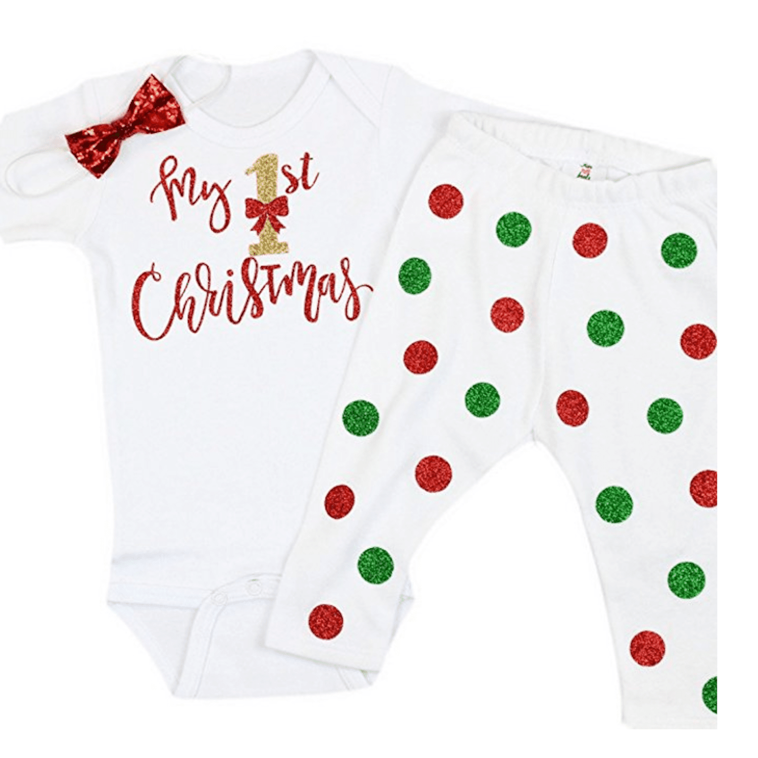 2e7333cb66f6 Olive Loves Apple Baby Girl My First Christmas Onesie with Leggings