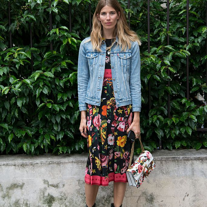 c1678b9bf5 Spring fashion look with a denim jacket and floral dress