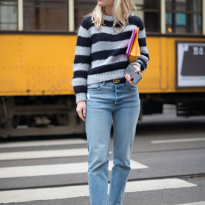 Street style striped sweater and boyfriend jeans