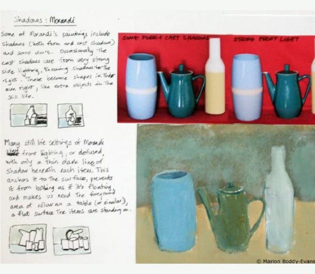 Artist notes for developing a painting with jugs of different sizes.