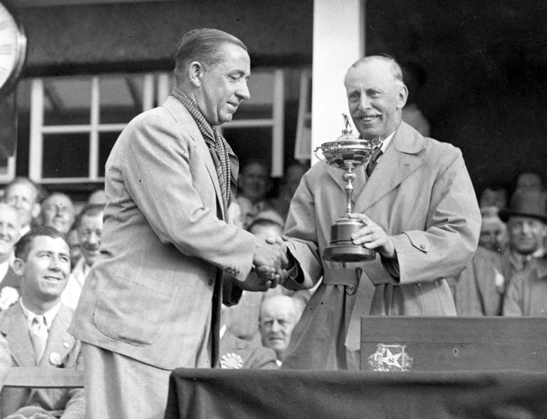 Walter Hagen receiving the 1937 Ryder Cup