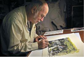 Watercolor artist in studio